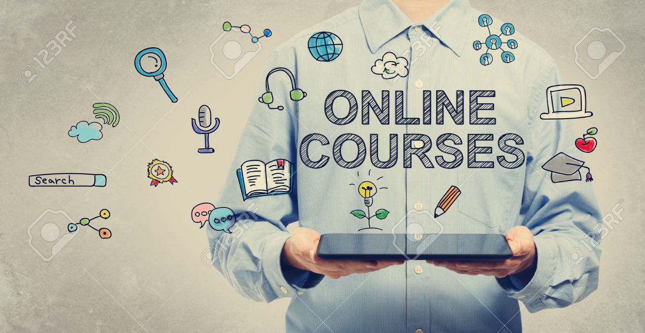 Online courses concept with young man holding a tablet computer