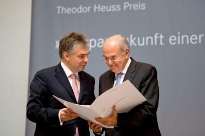 epa04750977 Vassilios Skouris (R), President of the European Court of Justice (ECJ), receives the 50th Theodor Heuss prize from the chairman of the Theodor Heuss foundation, Ludwig Theodor Heuss (L) during the award ceremony for the Theodor Heuss Prize in Stuttgart, Germany, 16 May 2015. The European Court of Justice (ECJ) was honoured on 16 May 2015 with the prestigious Theodor Heuss prize by the eponymous foundation for its contribution to democracy and its role in reinforcing the fundamental rights of EU citizens. ECJ President Vassilios Skouris accepted the award in Stuttgart with German President Joachim Gauck also in attendance. It is the 50th time the prize has been awarded.  EPA/DANIEL NAUPOLD